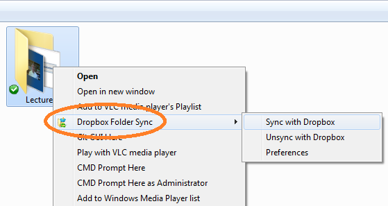 Dropbox Folder Sync Right click menu